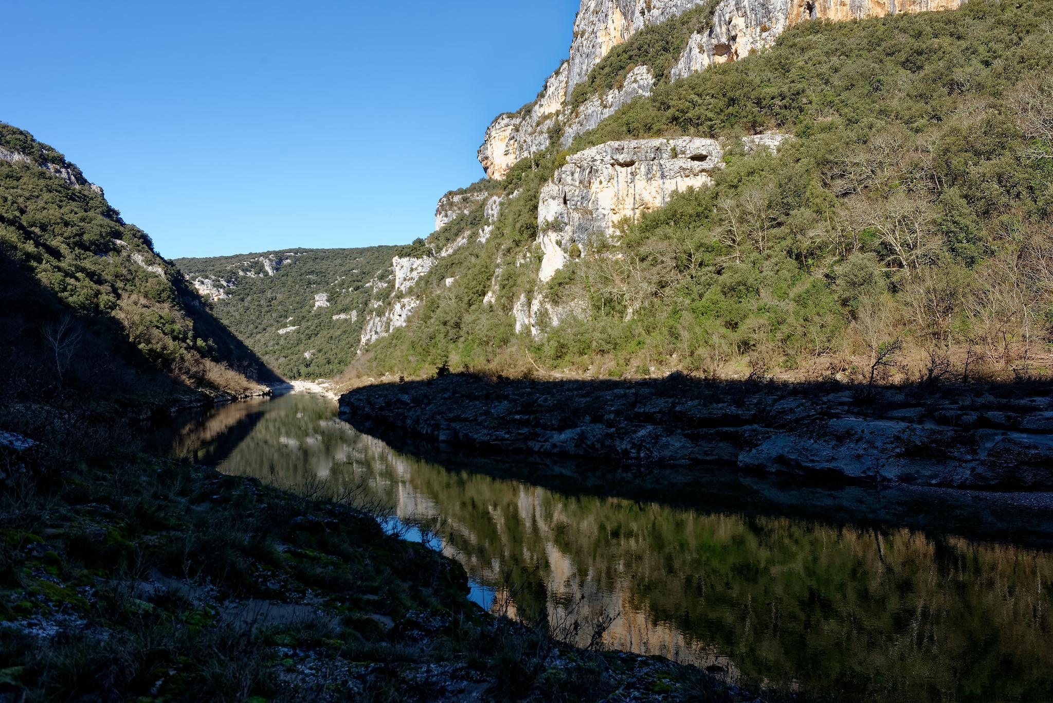 Les  gorges de l'Ardèche en Hiver